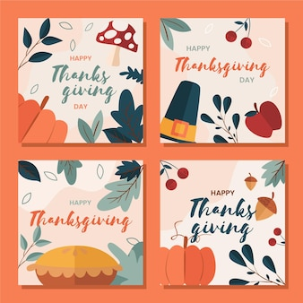 Hand gezeichnete thanksgiving instagram post sammlung