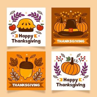 Hand gezeichnete thanksgiving-instagram-post