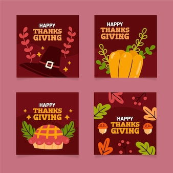 Hand gezeichnete thanksgiving-instagram-post