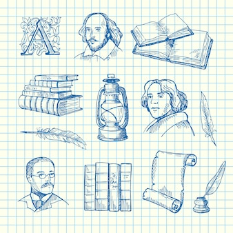 Hand gezeichnete theaterelemente stellten auf blaue zellblattillustration ein