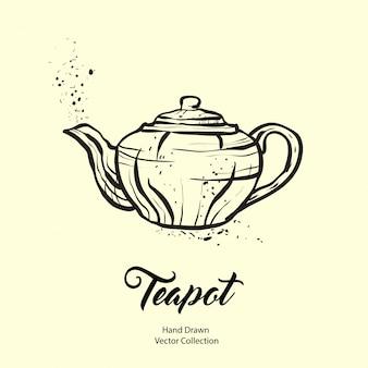 Hand gezeichnete tintenillustration der teekanne im alten stil.
