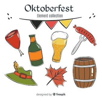 Hand gezeichnete traditionelle oktoberfest elementsammlung