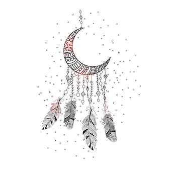 Hand gezeichnete traumfängerfedern