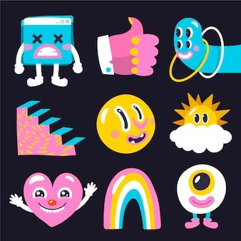 Hand gezeichnete trendige cartoon-elementsammlung des flachen designs