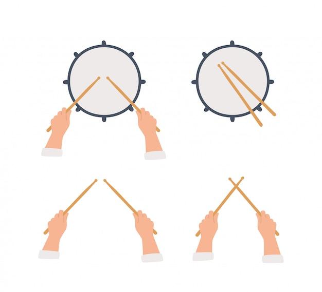 Hand gezeichnete trommel und hände, die trommelstöcke halten.