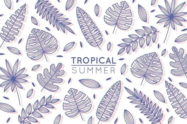 Hand gezeichnete tropische blätter sommerhintergrund