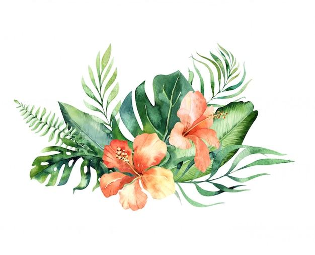 Hand gezeichnete tropische blumensträuße des aquarells. exotische palmblätter, dschungelbaum, brasilianische tropische botanikelemente und blumen.