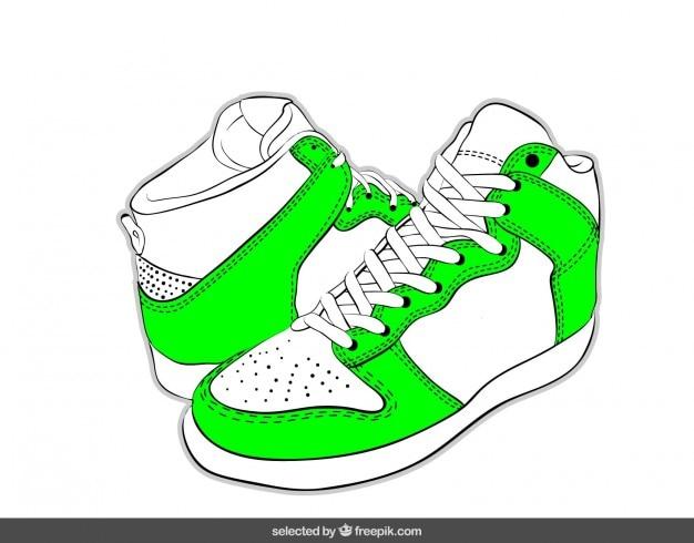 Hand gezeichnete turnschuhe im grünen neon-farben