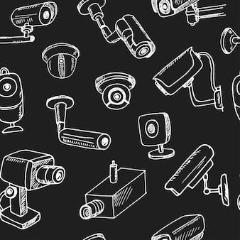 Hand gezeichnete überwachungskamera eingestellt