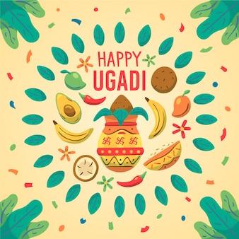 Hand gezeichnete ugadi festfestillustration