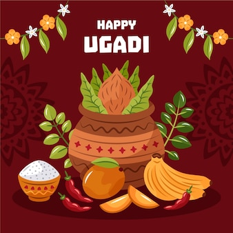 Hand gezeichnete ugadi illustration