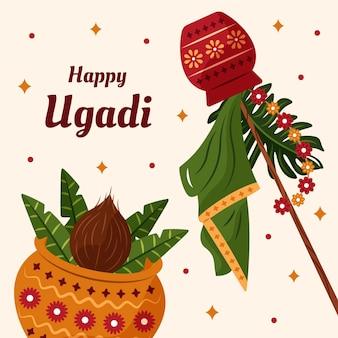 Hand gezeichnete ugadi illustration