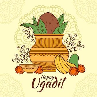 Hand gezeichnete ugadi