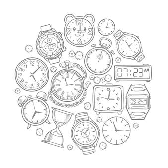 Hand gezeichnete uhr, armbanduhr kritzelt zeitvektorkonzept. illustration der stempeluhr- und armbanduhrskizze