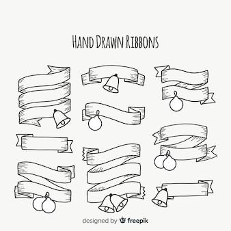 Hand gezeichnete umrissene weihnachtsbandsammlung