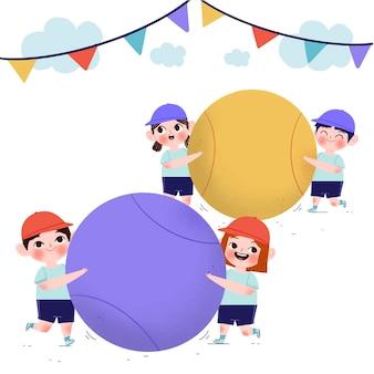 Hand gezeichnete undoukai-illustration mit kindern, die mit bällen spielen