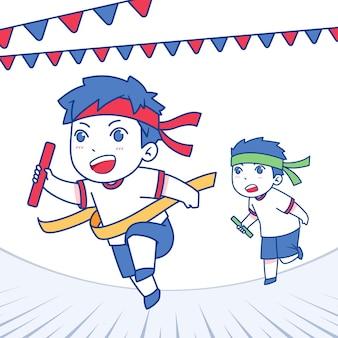 Hand gezeichnete undoukai-illustration mit kindern