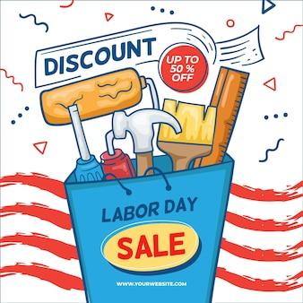 Hand gezeichnete usa labor day sale