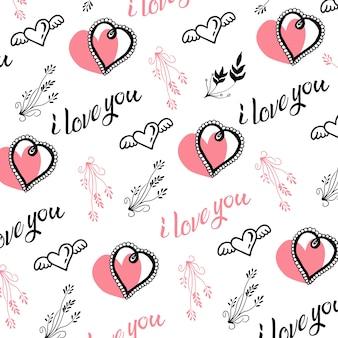 Hand gezeichnete valentinsgruß-innere und blatt-hintergrund