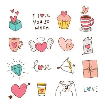 Hand gezeichnete valentinsgrußelemente