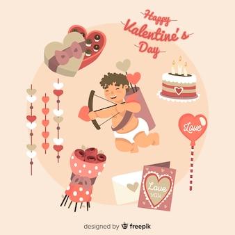 Hand gezeichnete valentinsgrußelementsammlung