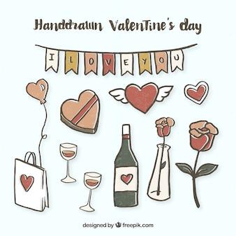 Hand gezeichnete valentinsgrußtages elemente sammlung
