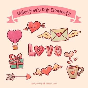 Hand gezeichnete valentinsgrußtageselemente