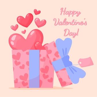 Hand gezeichnete valentinskarte mit geschenk, herzen und beschriftung
