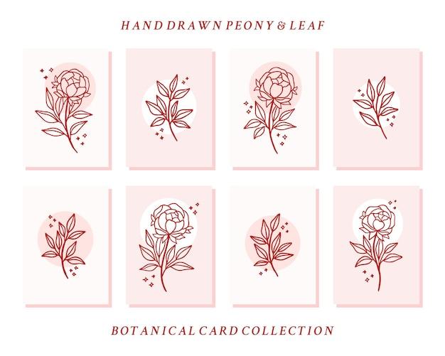 Hand gezeichnete valentinskartensammlung mit pfingstrosenblüten- und blattelementen