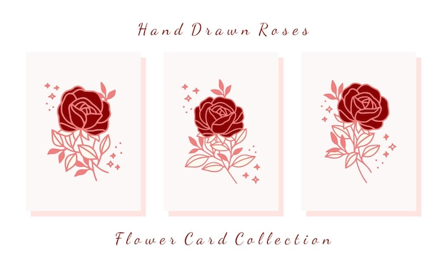 Hand gezeichnete valentinskartensammlung mit rosenblumenelementen