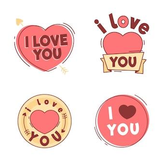 Hand gezeichnete valentinstag abzeichen pack