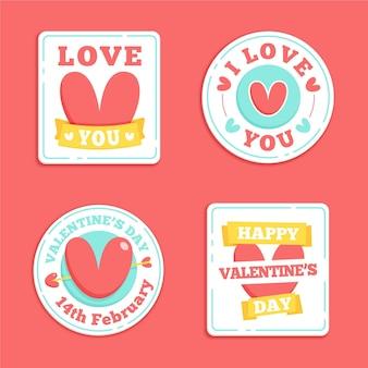 Hand gezeichnete valentinstag abzeichen sammlung