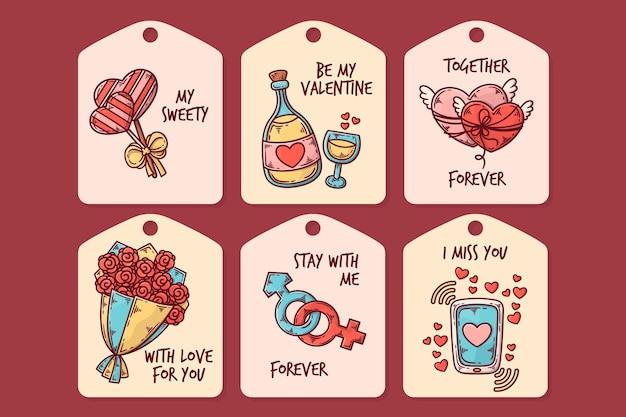 Hand gezeichnete valentinstag-abzeichensammlung