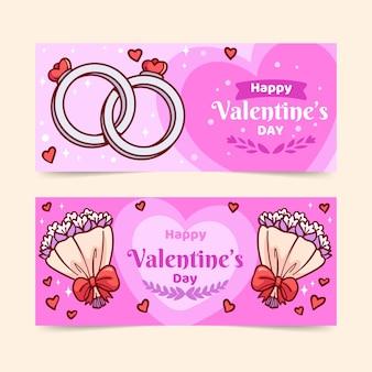 Hand gezeichnete valentinstag banner sammlung