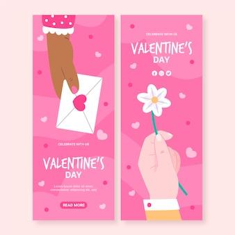 Hand gezeichnete valentinstag banner vorlage