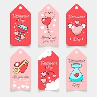 Hand gezeichnete valentinstag etiketten gesetzt
