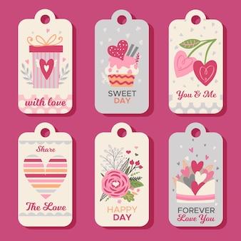 Hand gezeichnete valentinstag-etikettenkollektion
