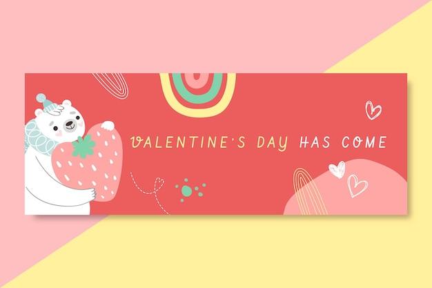 Hand gezeichnete valentinstag facebook cover vorlage