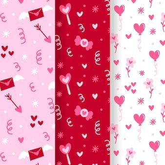 Hand gezeichnete valentinstag musterkollektion