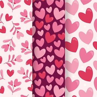 Hand gezeichnete valentinstag-mustersammlung