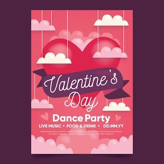 Hand gezeichnete valentinstag party flyer vorlage