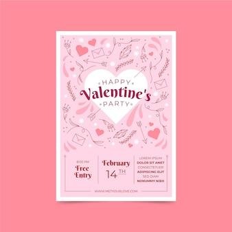 Hand gezeichnete valentinstag-partyplakatschablone