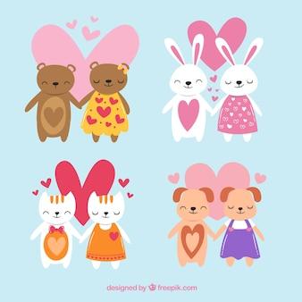 Hand gezeichnete valentinstag tier paar sammlung