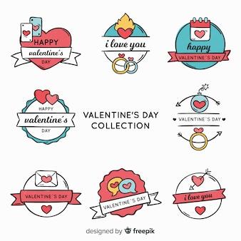 Hand gezeichnete valentinstagausweissammlung