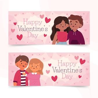 Hand gezeichnete valentinstagbanner
