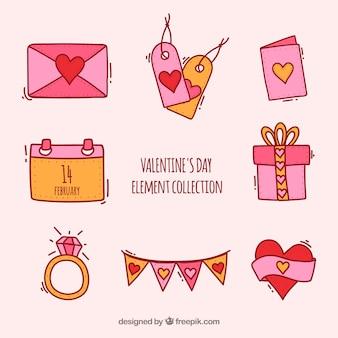 Hand gezeichnete valentinstagelementsammlung