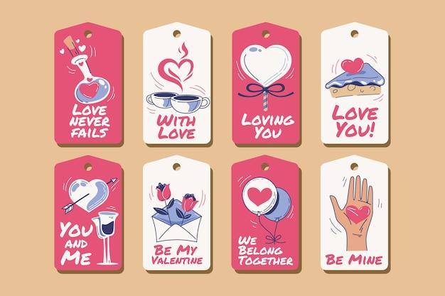 Hand gezeichnete valentinstagetikettensammlung