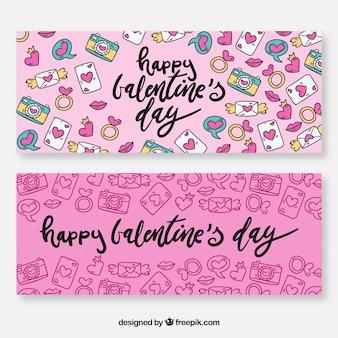 Hand gezeichnete valentinstagfahnen