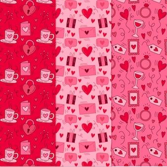 Hand gezeichnete valentinstagmustersammlung