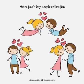Hand gezeichnete valentinstagpaarsammlung